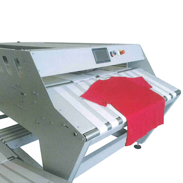 The T-APPAREL is a specialized textile folding machine to   creates the perfect solution for folding and stacking all   kinds of apparel, like T-shirts, polo shirts, undershirts,  tops, singlets, trousers, etc. Shirts can have short sleeves as well as long sleeves.                                   <br><br>                                                    High output without compromise on quality! The infeed       conveyor can be switched between three running modes:       automatic, push button or continuously running.             The T-APPAREL is provided with a quality stop feature. With  this feature, piece make an additional stop for            quality-correction before the actual folds are made. This   feature is very helpful for very long and difficult to feed or complicated apparels.